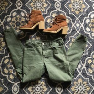 OLD NAVY 🍂 Ripped Skinny Jeans (Army Green)